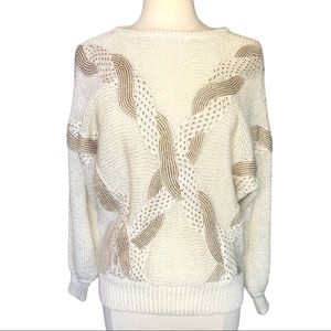 Vintage Sideffect Sweater in White/gold Size M
